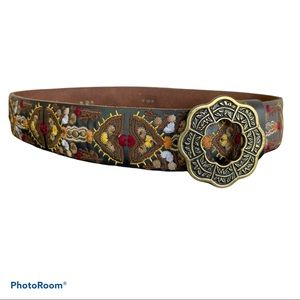 LUCKY BRAND boho embroidered leather belt XS